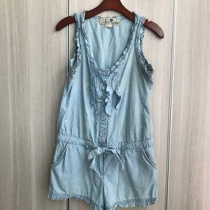 Blue denim romper ruffles waist tie 100% cotton